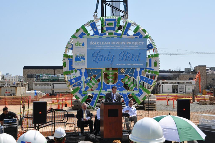 Dignitaries gathered April 9 to mark the christening of DC Water's Blue Plains Tunnel TBM 'Lady Bird.'