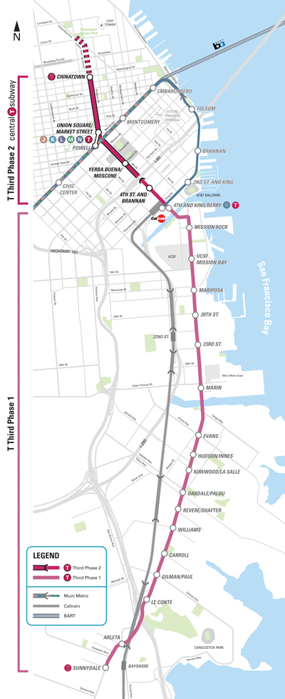 Central Subway Map.Tunneling Gets Under Way For San Francisco Central Subway
