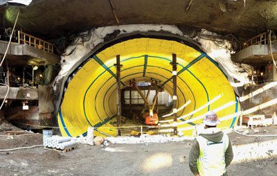 The East Side Access Northern Boulevard Crossing in Queens, New York, involved using innovative grouting for heave and settlement control  during SEM tunneling  beneath a frozen ground arch.