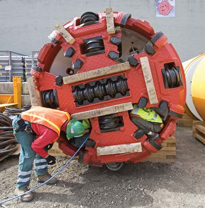Small-diameter tunneling technology has improved over the years. This machine completed a 3,000-ft bore in Portland, Oregon, in 2008.