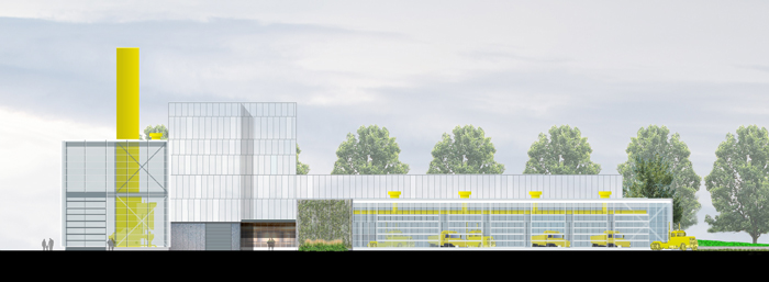 Rendering of the south operations building.