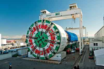 This 15.62-m (51.25-ft) diameter EPB TBM, one of the largest pressurized face machines in the world, was used to complete the Sparvo Tunnel in Italy.