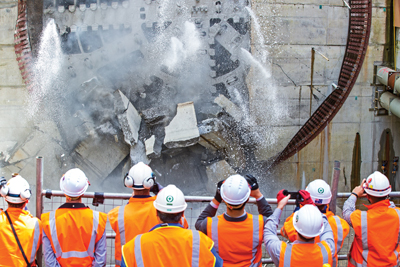 The final breakthrough for the Herrenknecht EPB Shield in Auckland on Oct. 19, 2015.