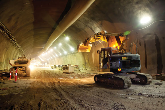 excavator in a tunnel
