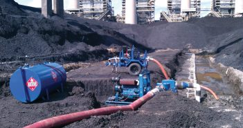 Dewatering of a coal yard