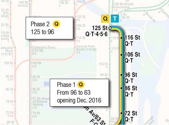 2nd Ave Subway Map Phase 1.Sas Phases 1 And 2 Tunnel Business Magazine
