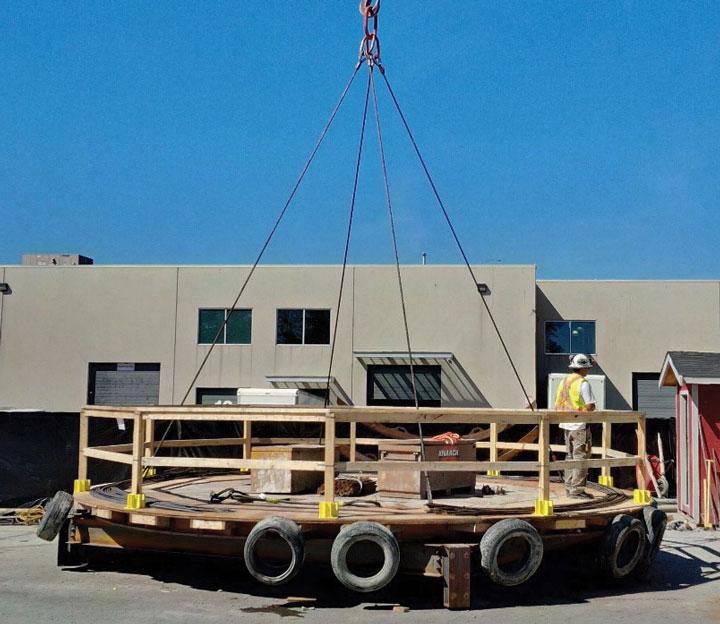crane-lifted platform