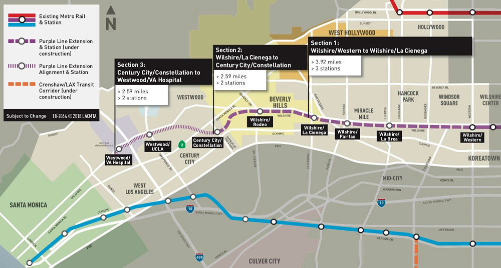 Los Angeles Subway Map New.La Metro Receives 100m Allocation From Fta For Purple Line 3
