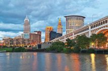 Cleveland skyline with Cuyahoga River