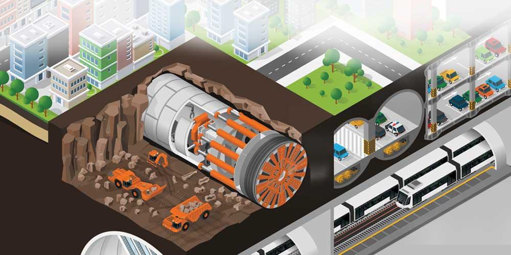 tunnel boring machine illustration