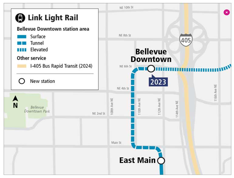 Downtown Bellevue Tunnel map