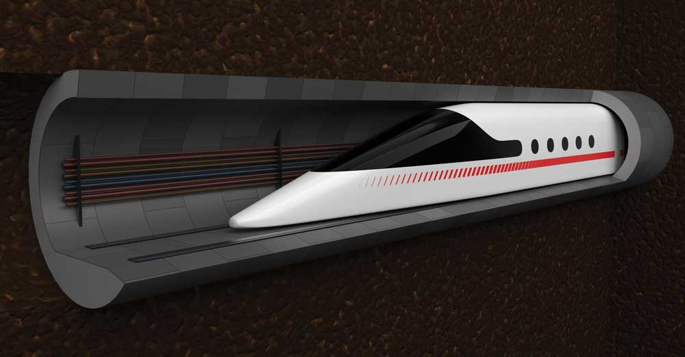 train in a tunnel illustration