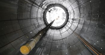 The launch shaft was constructed 258 m (845 ft) deep in Newburgh, New York