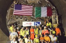 Crews gather in front of the Lake Mead Intake No. 3 tunnel boring machine cutterhead