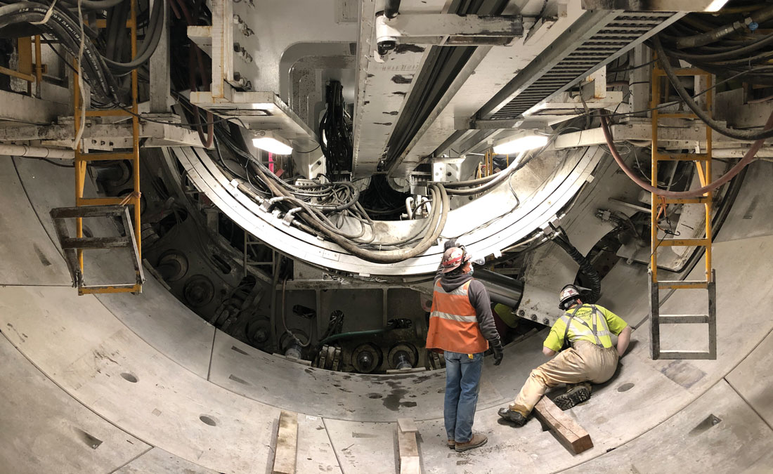 workers inside a tunnel